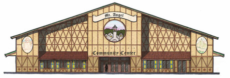 Color rendering of planned Mt. Angel Community Center.