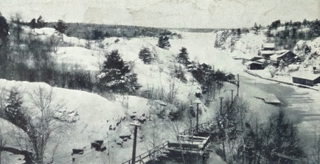 Pointe au Baril Winter picture from train tressel 1924