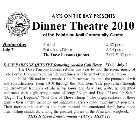 Dinner Theater, Arts on the Bay, Dave Parsons Quintet