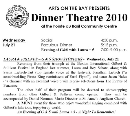 Arts on the Bay - July 21 - Dinner Theater