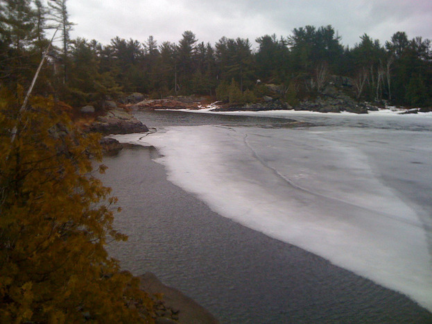 Saturday April 16, 2011  - Just arrived at our Georgian Bay island cottage. The ice is still here but not for much longer I hope. Water leve...