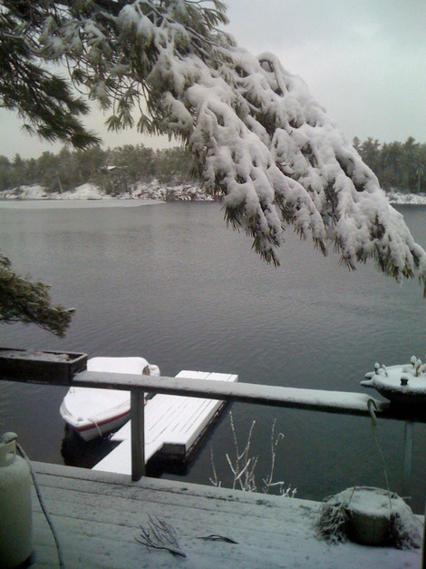 It's 11:30am I think I'm declaring a snow day. Another 1.5 inches have fallen this morning making over 3 inches on the dock, on the boat ...
