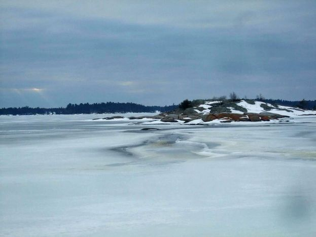 "February 6, 2012 ""Taken in Shawanaga Bay yesterday. Notice the open water around the island and shoal. The ice is very poor this year and we..."