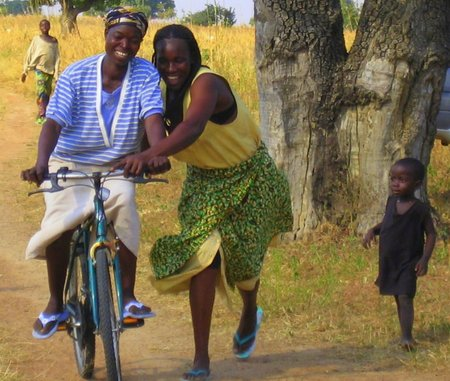 Women learn to ride bikes in Ghana