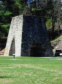 The old furnace stack at<br/>Pine Grove Furnace State Park