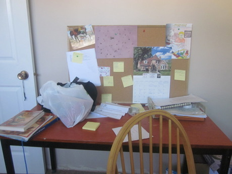 Natalie's desk - messy