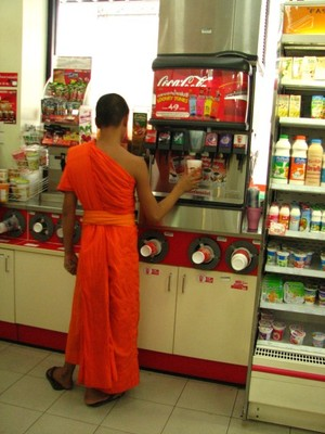 Monk getting a Big Gulp